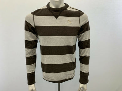 Abercrombie & Fitch Men's Medium Tee Long Sleeve Brown Gray Striped Crew Neck T