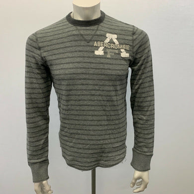 Abercrombie & Fitch Size Small Men's Tee Gray Striped Muscle Long Sleeve Crew T