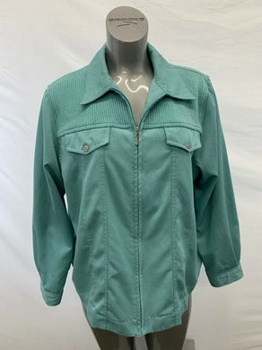 Alfred Dunner Women's Size 18W Green Long Sleeve Polyester Full Zip Car Jacket