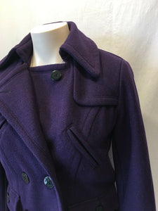 American Eagle Outfitters Purple Double Breasted Wool Blend Coat Size Small