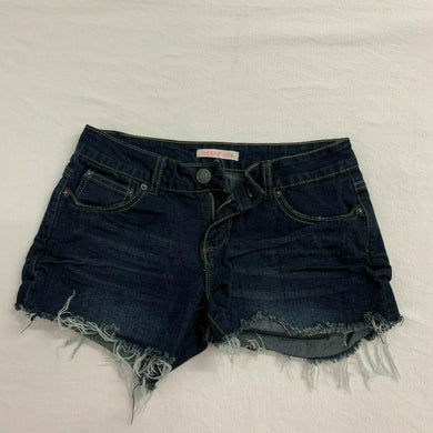 Ardene Shorts Women's Size 1 Cut Offs Dark Wash Stretch Low Rise Blue Jean