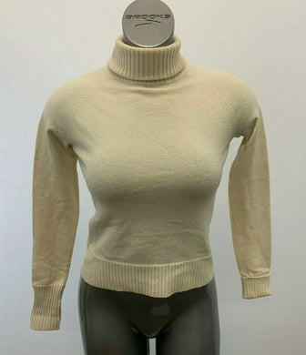 Banana Republic Sweater Wool Blend Women's Medium Stretch Beige Turtle Neck