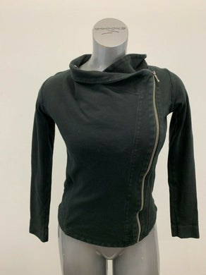 Bench Jacket Women's Small Black Long Sleeve Full Side Zip Fitted Cotton