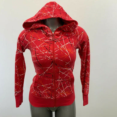 Bench Jacket Women's Small Red Patterned Long Sleeve Hooded Full Zip Hoodie