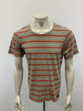 Bench T Shirt men's Large Gray Green Striped Cotton Short Sleeve Scoop Neck