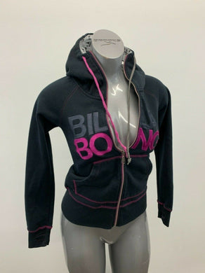 Billabong Full Zip Hoodie Women's Size Small Black Pink Spell Out Hooded