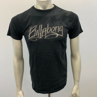Billabong Men's Small T Shirt Black Spell Out Crew Neck Short Sleeve Graphic Tee