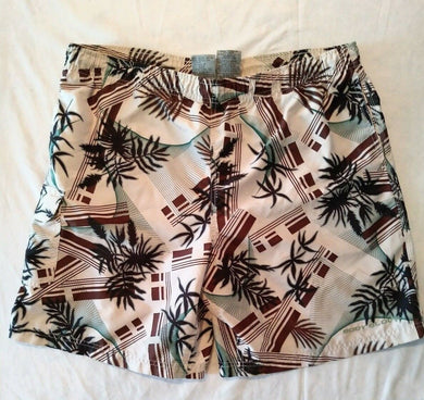 Body Glove Men's Beige Mesh Lined Patterned Swim Shorts Size Large