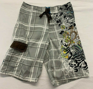 Brody Men's Board Shorts Size 30 Gray White Plaid Graphic Polyester Swim Shorts