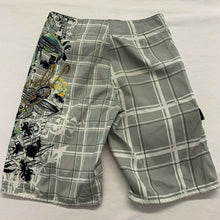 Load image into Gallery viewer, Brody Men's Board Shorts Size 30 Gray White Plaid Graphic Polyester Swim Shorts