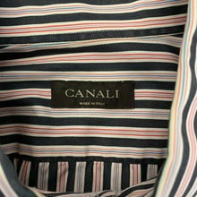 Load image into Gallery viewer, Canali Dress Shirt Men's Size 17 1/2 Gray Red Striped Long Sleeve Cotton Button