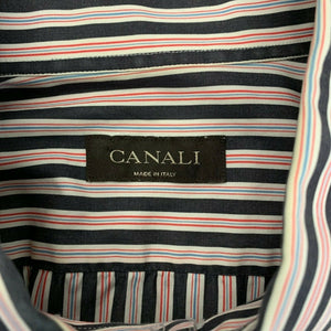 Canali Dress Shirt Men's Size 17 1/2 Gray Red Striped Long Sleeve Cotton Button