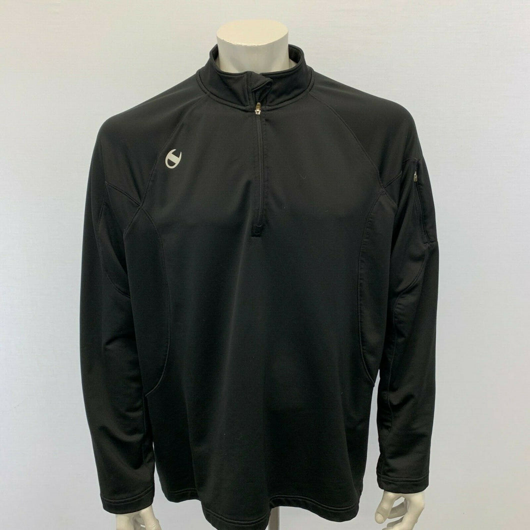 Champion 1/4 Zip Men's Size XL Black Long Sleeve Polyester Blend Mock Pullover