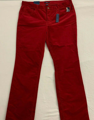 Chaps Corduroy Jeans Women's 16 Red Stretch High Rise Slimming Fit NEW