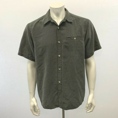 Columbia Men's Large Gray shirt Short Sleeve Button Up Polyester Casual