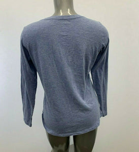 Columbia Shirt Size Large Women's Blue V Neck Long Sleeve Cotton Poly Casual
