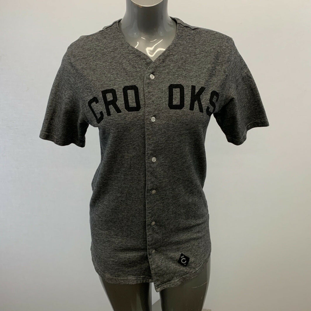 Crooks & Castle Unisex Jersey Medium Gray V Neck Short Sleeve Baseball