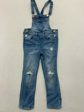 & Denim Girls Size 6-7Y Stretch Distressed Ripped Heart Pocket Blue Jean Bib Ove