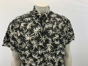 Denim & Flowers Size XL Black White Men's Short Sleeve Button Down Patterned Shi