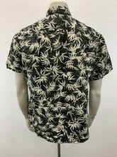 Load image into Gallery viewer, Denim & Flowers Size XL Black White Men's Short Sleeve Button Down Patterned Shi