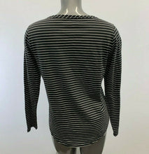 Load image into Gallery viewer, Eddie Bauer Henley Shirt Women's Large Gray White Striped Cotton Long Sleeve