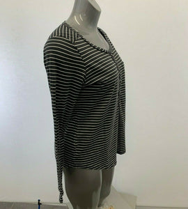 Eddie Bauer Henley Shirt Women's Large Gray White Striped Cotton Long Sleeve