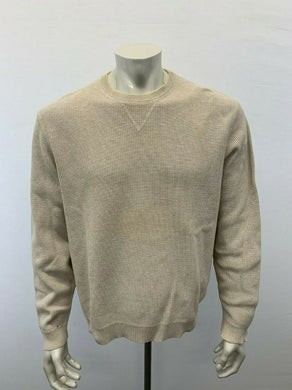 Eddie Bauer Men's Large Beige Ribbed Long Sleeve Crew Neck Pullover Cotton Sweater
