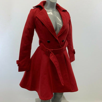 Fashion Mia Women's Double Breasted Peacoat Size Small Red Polyester Long Sleeve