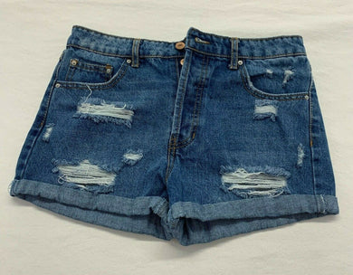 Forever 21 Women's Denim Shorts Size 26 Ripped High Rise Button Fly Blue Jean
