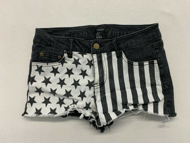 Forever 21 Women's Size 26 Black Stars Striped Stretch Low Rise Cut Off Shorts