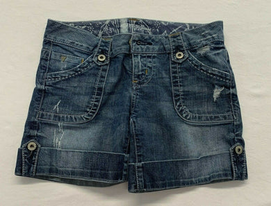 Guess Jeans Women's Denim Shorts Size 28 Stretch Distressed Flap Pockets Cuffed