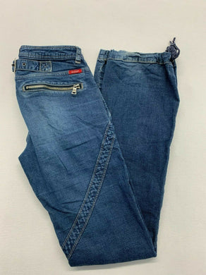Guess Jeans Women's Size 26 Stretch Tie Boot Cut Low Rise Blue Jeans w/Zippers