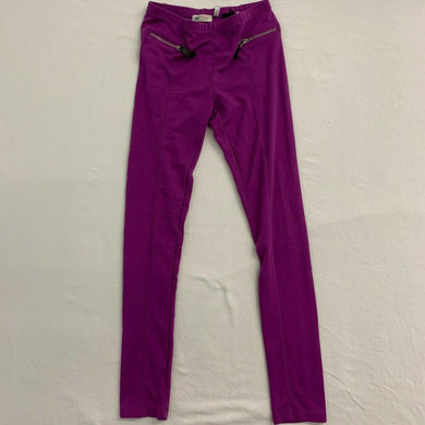 H&M Leggings Girls Size 12-13Y Purple Stretch Front Zippered Pockets Mid Rise