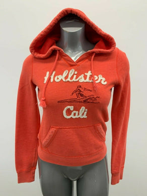 Hollister Hoodie Women's Size Small Red Long Sleeve V Neck Spell Out Hooded Swea