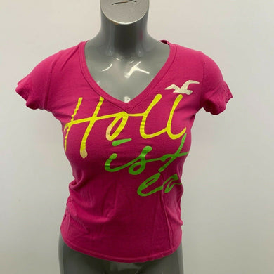 Hollister T Shirt Women's Round V Neck Red Short Sleeve Polyester Cotton Tee