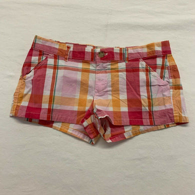 Hollister Women's Booty Shorts Size 5 Pink Orange Plaid SoCal Stretch Low Rise