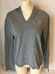 Hollister Women's Long Sleeve V-Neck Hooded Embroidered Logo Size S