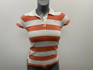 Hollister Women's Polo Shirt Size Small Orange White Striped Short Sleeve Fitted