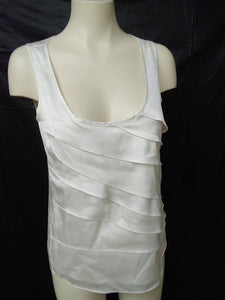 Le Chateau Women's S white ruffled sleeveless top