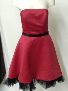 Eden Maids Women's  size 7 strapless Prom dress red with black