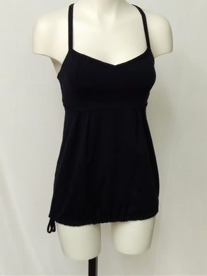 Lululemon Women's 6 Black Yoga top with built in bra and drawstring at bottom