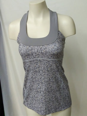 Lululemon Women's 8 Gray with very light leopard type print Racerback scoop neck built-in bra Tank top