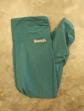 Bench Women's XS yoga crop pants blueish green gathered at bottom sides