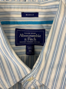 Abercrombie & Fitch Mens Blue Striped Cotton Button Up Long Sleeve Shirt