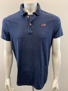Hollister Men's Size XL Blue Stretch Short Sleeve Cotton/Spandex Polo Shirt