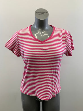 Nautica Girls Size XL White Pink Striped Short Sleeve  V Neck Cotton T Shirt