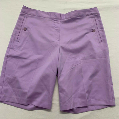 IZOD Women's Golf Shorts Size 12 Cool-FX Stretch Purple Polyester High Rise NEW