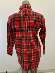 La Vie En Rose Night Shirt Women's Medium Red Blue Plaid Flannel Button Up