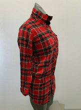 Load image into Gallery viewer, La Vie En Rose Night Shirt Women's Medium Red Blue Plaid Flannel Button Up