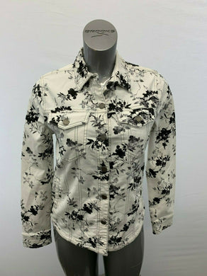Liverpool Jeans Women's Small Button Up Stretch Long Sleeve White Black Floral P